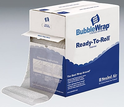 """3/16"""" Sealed Air Bubble Wrap Bubble Rolls, Dispenser Box, 12"""" x 175', Each"""