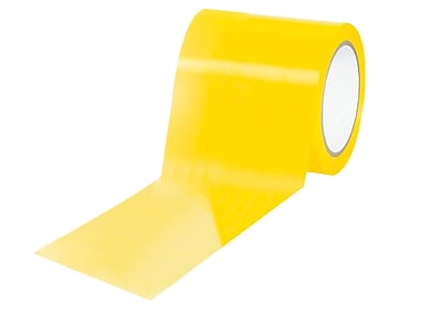 """3M 4"""" x 36 yds. """"Caution/Physical Hazard"""" Solid Vinyl Safety Tape, Yellow, 12/Pack"""