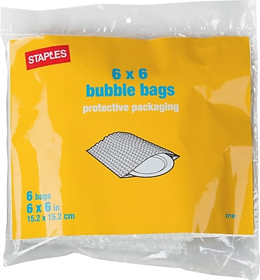 """Bubble Bags, 6"""" x 6"""", 6/Pack (27181-US/CC)"""