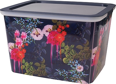 """Cynthia Rowley 10"""" Storage Box, Dark Blue Floral (27100)"""