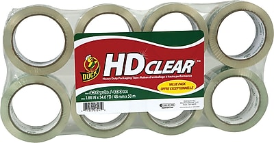 """Duck Crystal Clear Packing Tape, 1.88"""" x 54.6 Yds, 8/Rolls (282195)"""