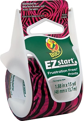 """Duck EZ Start Fashion Packing Tape, Pink Zebra, 1.88"""" x 15 yd"""