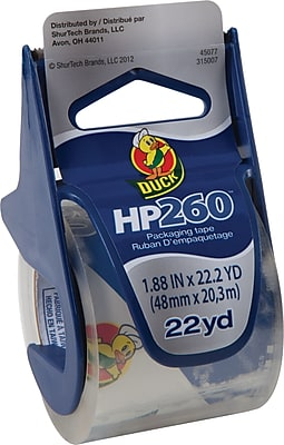 """Duck HP260 Crystal-Clear Premium Packing Tape with Dispenser, 1.88"""" x 22.2 Yds, 6/Rolls (280065)"""