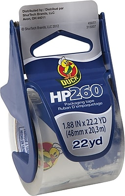 """Duck HP260 Premium Packing Tape with Dispenser, 1.88"""" x 22.2 Yds, Clear (920352)"""