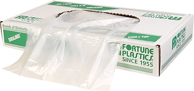 Fortune Plastics Hexene Trash Bags, Clear, 20-30 Gallon, 250 Bags/Box