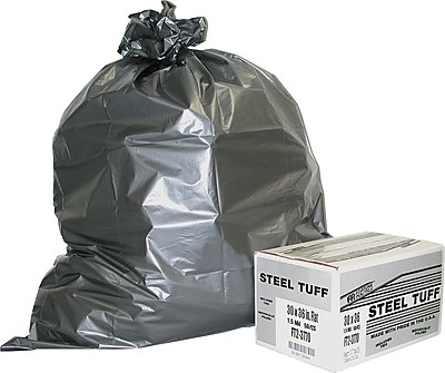 Fortune Plastics Steel Tuff Extra-Heavy Duty Can Liner, 60 Gallon Bags, 50/Carton