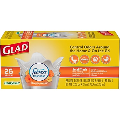 Glad OdorShield Hawaiian Aloha Small Trash Bags, 4 gallon, 26 count