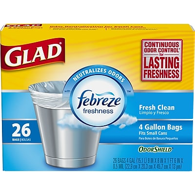 Glad OdorShield Small Trash Bags - Febreze Fresh Clean - 4 Gallon - 26 Count (70318)