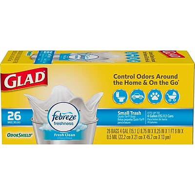 Glad OdorShield Small Trash Bags - Febreze Fresh Clean - 4 Gallon - 26 Count (78812)