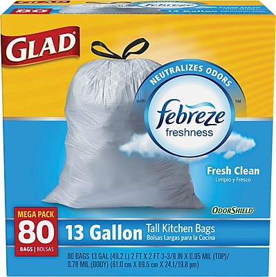 Glad OdorShield Tall Kitchen Drawstring Trash Bags, Fresh Clean, 13 Gallon, 80 Bags/Box