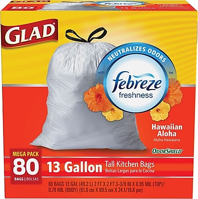 Glad OdorShield Tall Kitchen Drawstring Trash Bags, Hawaiian Aloha, White, 13 Gallon, 80 Bags/Box