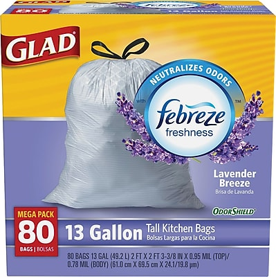 Glad OdorShield Tall Kitchen Drawstring Trash Bags, Lavender, 13 Gallon, 80 Count, 4/Carton