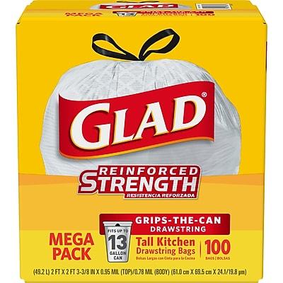 Glad Tall Kitchen Drawstring Trash Bags 13 Gallon, 100 Bags/Box, White