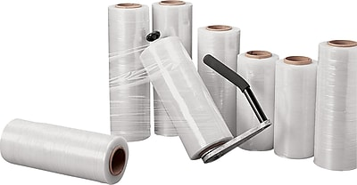 """Hand Stretch Wrap Film, Cast, 80 Gauge, 18"""" x 1500', Clear, 4 rolls/case (HH1880)"""