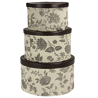 Household Essentials Hat Box Set with Faux Leather Lids, Floral