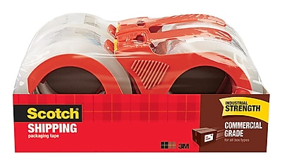 Scotch Commercial Grade Shipping Packing Tape with Dispenser, 55 yds., Clear, 4 Rolls/Pack (3750-4RD)