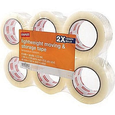 """Staples 1.88"""" x 109 yds Lightweight Moving and Storage Packaging Tape, Clear, 6 Rolls/Pack (ST-A22L-6LW)"""