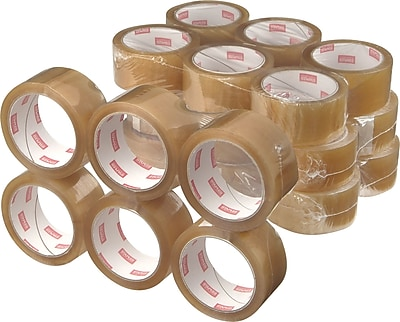 """Staples Natural Rubber Packaging Tape, 1.89"""" x 109.4 Yds, Clear, 36/Rolls"""