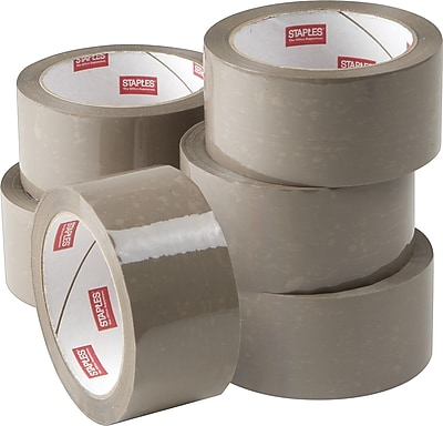 """Staples Natural Rubber Packaging Tape, 1.89"""" x 54.7 Yds, Tan, 6/Rolls"""