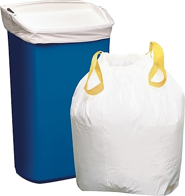 Staples Value Size Trash Bags, Drawstring, White, 13 gallon, 120 Bags/Box