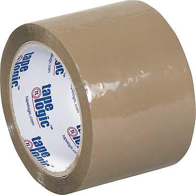 """Tape Logic 3"""" x 55 yds. Acrylic Tape, Tan, 24/Case"""