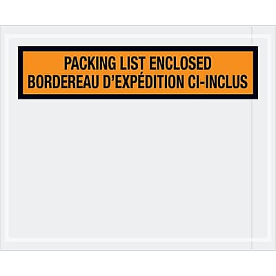 """Tape Logic Bilingual Packing List Envelopes, 4 1/2"""" x 5 1/2"""", Orange, 1000/Case (PL501)"""