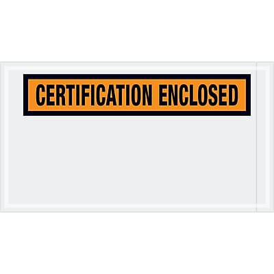 """Tape Logic """"Certification Enclosed"""" Envelopes, 5 1/2"""" x 10"""", Orange, 1000/Case (PL439)"""