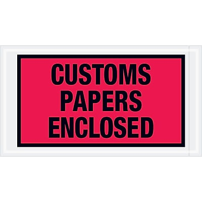 """Tape Logic """"Customs Papers Enclosed"""" Envelopes, 5 1/2"""" x 10"""", Red, 1000/Case (PL447)"""