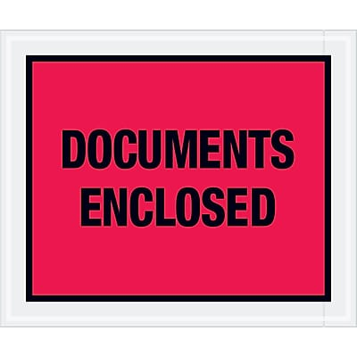 """Tape Logic """"Documents Enclosed"""" Envelopes, 10"""" x 12"""", Red, 500/Case (PL437)"""