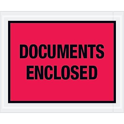 """Tape Logic """"Documents Enclosed"""" Envelopes, 4 1/2"""" x 5 1/2"""", Red, 1000/Case (PL438)"""