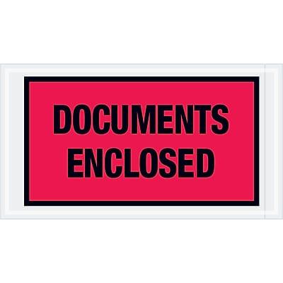 """Tape Logic """"Documents Enclosed"""" Envelopes, 5 1/2"""" x 10"""", Red, 1000/Case (PL436)"""