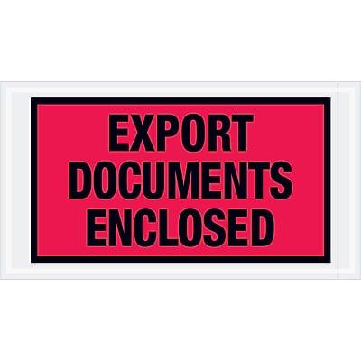 """Tape Logic """"Export Documents Enclosed"""" Envelopes, 5 1/2"""" x 10"""", Red, 1000/Case (PL440)"""