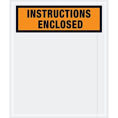 """Tape Logic """"Instructions Enclosed"""" Envelopes, 12"""" x 10"""", Orange, 500/Case (PL479)"""