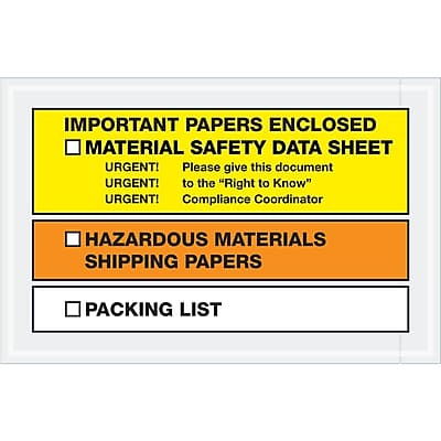 """Tape Logic MSDS Envelopes, """"Important Paper Enclosed"""", 6 1/2"""" x 10"""", Yellow/Orange, 1000/Case (PL499)"""