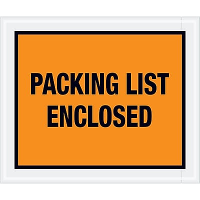 """Tape Logic """"Packing List Enclosed"""" Envelopes, 10"""" x 12"""", Orange, 500/Case (PL429)"""