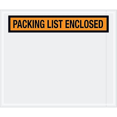 """Tape Logic """"Packing List Enclosed"""" Envelopes, 10"""" x 12"""", Orange, 500/Case (PL434)"""