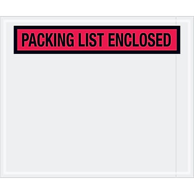 """Tape Logic """"Packing List Enclosed"""" Envelopes, 10"""" x 12"""", Red, 500/Case (PL435)"""