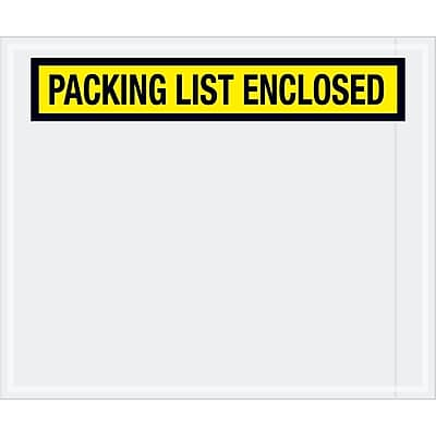 """Tape Logic """"Packing List Enclosed"""" Envelopes, 10"""" x 12"""", Yellow, 500/Case (PL433)"""