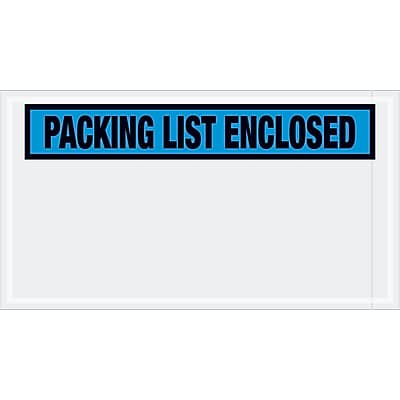 """Tape Logic """"Packing List Enclosed"""" Envelopes, 5 1/2"""" x 10"""", Blue, 1000/Case (PL431)"""