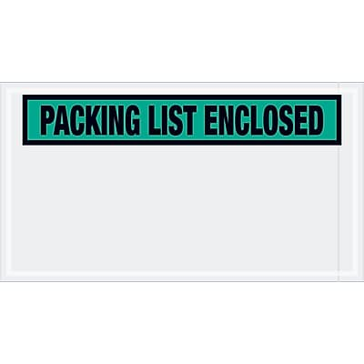 """Tape Logic """"Packing List Enclosed"""" Envelopes, 5 1/2"""" x 10"""", Green, 1000/Case (PL432)"""