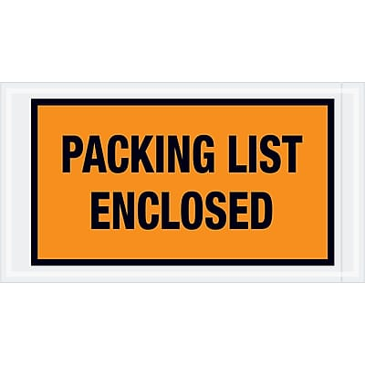 """Tape Logic """"Packing List Enclosed"""" Envelopes, 5 1/2"""" x 10"""", Orange, 1000/Case (PL426)"""