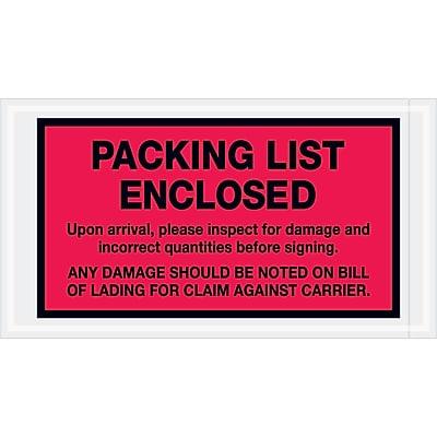 """Tape Logic """"Packing List Enclosed"""" Envelopes, 5 1/2"""" x 10"""", Red, 1000/Case (PL469)"""