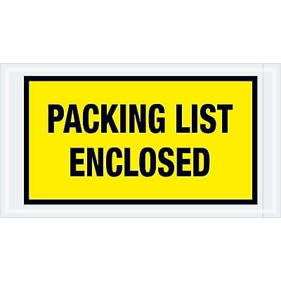 """Tape Logic """"Packing List Enclosed"""" Envelopes, 5 1/2"""" x 10"""", Yellow, 1000/Case (PL425)"""