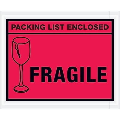 """""""Tape Logic """"""""Packing List Enclosed - Fragile"""""""" Envelopes, 4 1/2"""""""" x 5 1/2"""""""", Red, Case of 1000 (PL493)"""""""