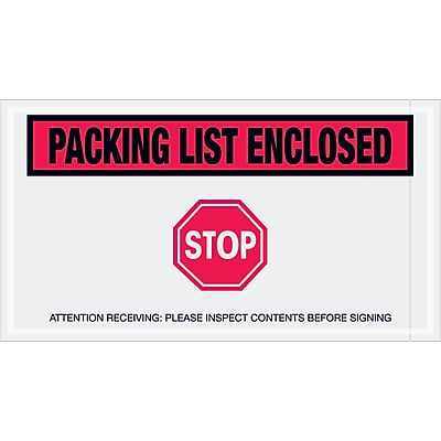 """Tape Logic """"Packing List Enclosed - Stop"""" Envelopes, 5 1/2"""" x 10"""", Red, 1000/Case (PL492)"""