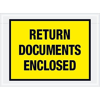 """Tape Logic """"Return Documents Enclosed"""" Envelopes, 7 1/2"""" x 5 1/2"""", Yellow, 1000/Case (PL448)"""