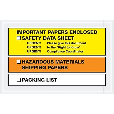 """Tape Logic SDS Envelopes, """"Important Papers Enclosed"""", 6 1/2"""" x 10"""", Yellow/Orange, 1000/Case (PL497)"""