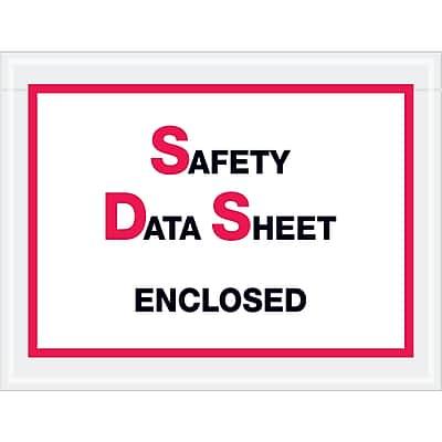 """Tape Logic SDS Envelopes, """"Safety Data Sheet Enclosed"""", 6 1/2"""" x 5"""", Printed Clear, 1000/Case (PL495)"""