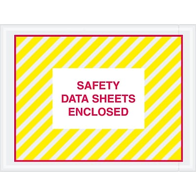 """Tape Logic SDS Envelopes, """"Safety Data Sheets Enclosed"""", 4 1/2"""" x 6"""", Printed Clear, 1000/Case (PL498)"""