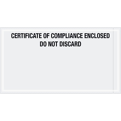 """Tape Logic Transportation Envelopes, """"Certificate of Compliance Enclosed"""", 6"""" x 11"""", Printed Clear,1000/Case (PL511)"""